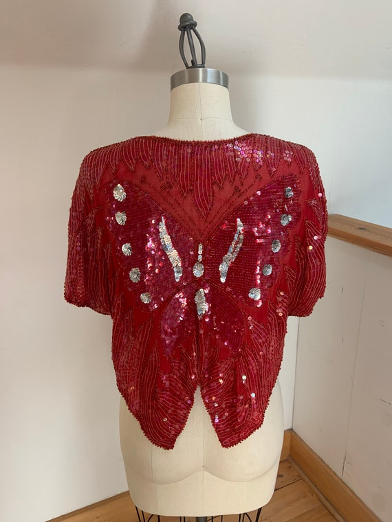 Vintage 1980's Red Sequined Butterfly Blouse - image 6