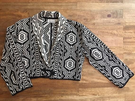 Vintage Cropped 1980's Geometric Woven Jacket - image 3