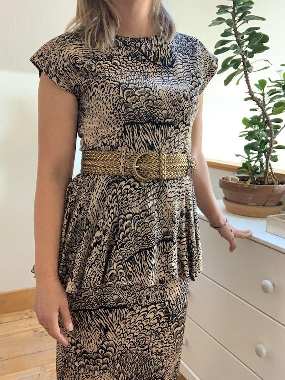 Vintage 1980's Feather Print Peplum Dress. - image 4