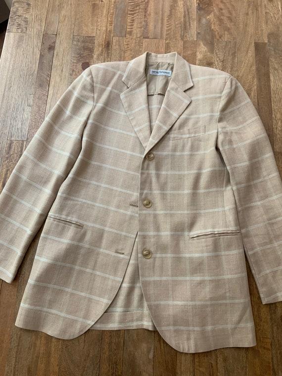 Vintage 1990's Tan Plaid Armani Blazer Medium - image 9