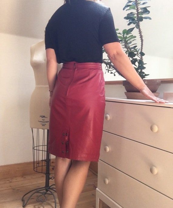 Vintage 1980's Red Leather Pencil Skirt - image 8