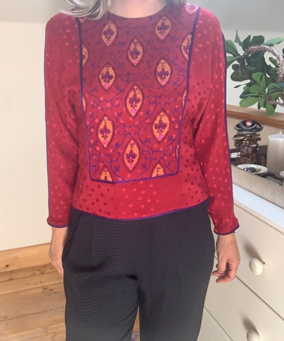 Vintage 1980's Red Silk Blouse