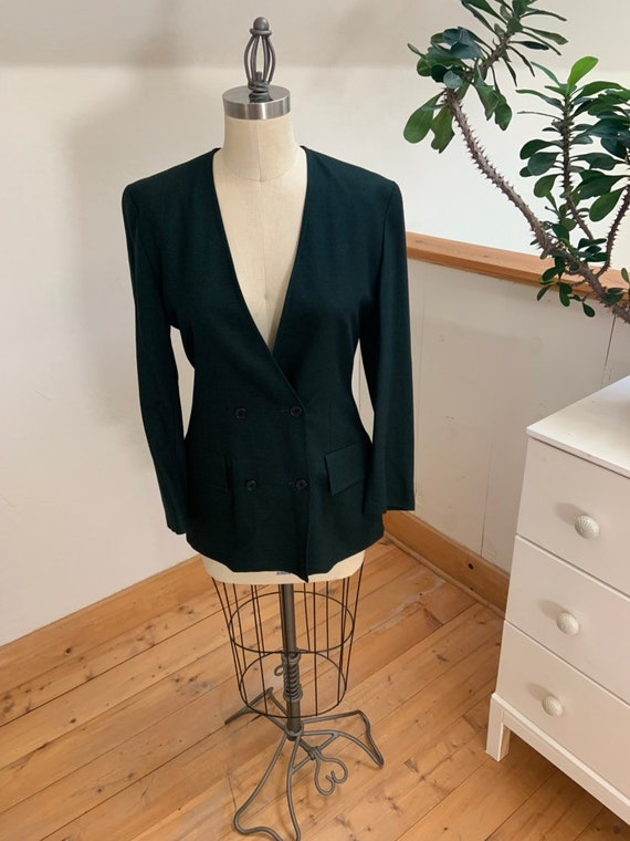 Vintage 1990's Jaeger Green Double Breasted Blazer - image 5