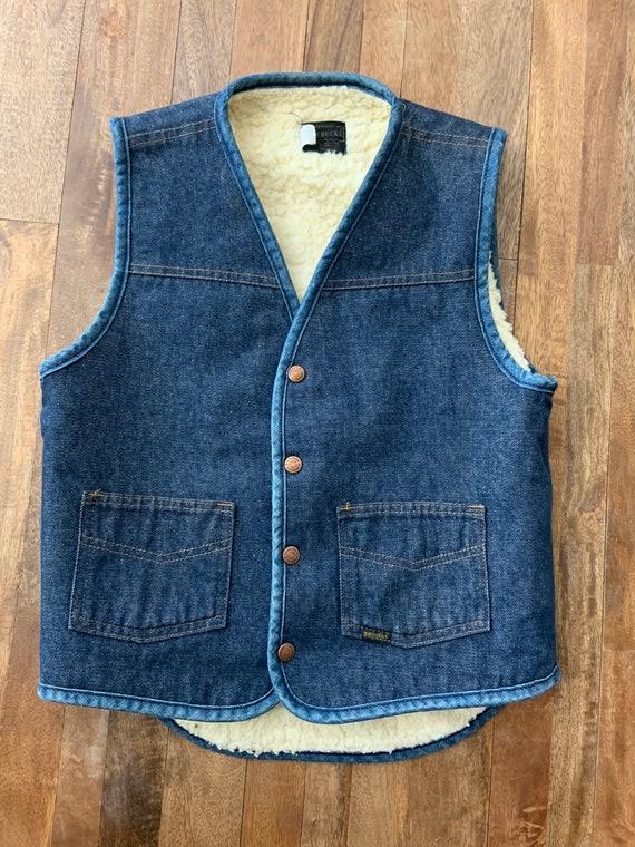 Vintage Denim Shearling Snap Front Vest Small - image 5