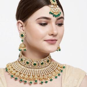 Hand Made Indian Bollywood Wedding Jewelry Jwellery Raani-Haar 7 Rows Long Kundan Pearl Bridal Gold P Necklace Set Earrings White 3 Pcs