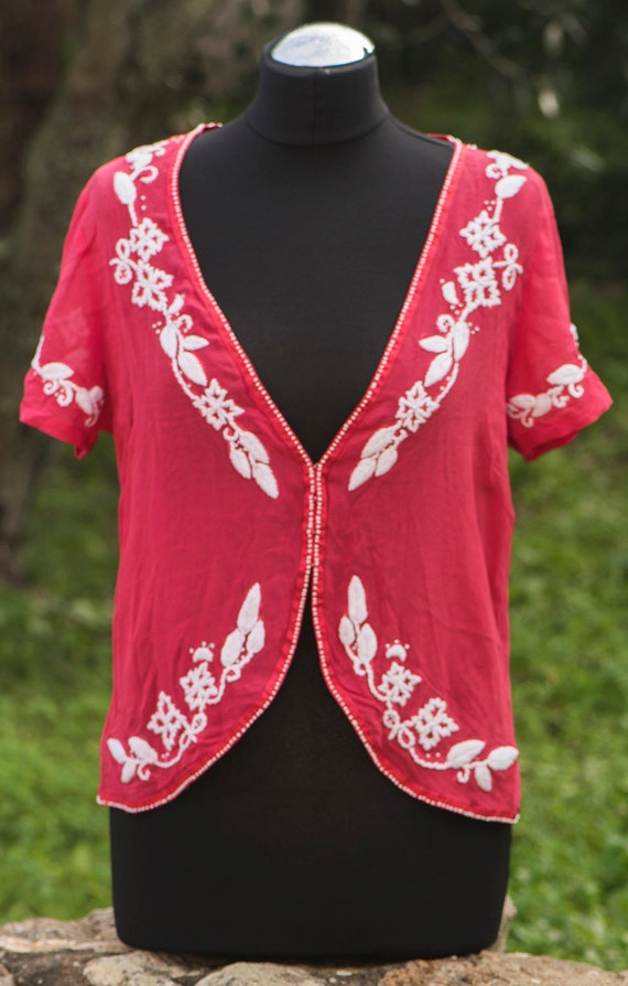 Vintage Women\u2019s Pink Silk Embroidered Blouse Sz M Long sleeve