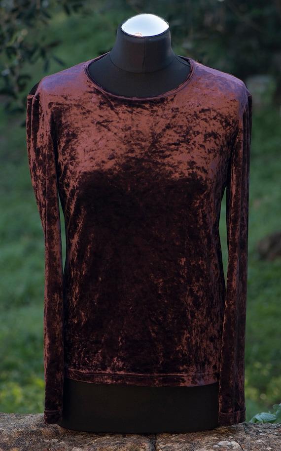 Vintage Velvet Long Sleeve Top / Crushed Velvet Ro