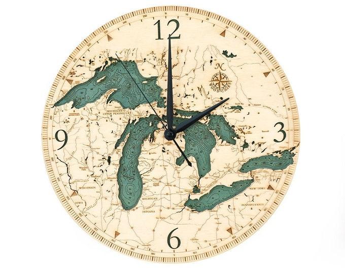 Great Lakes 2 Dimensional Wooden Wall Clock - 12 inch Diameter