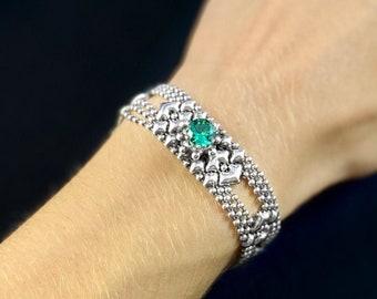Liquid Metal Bracelet with Green Crystal