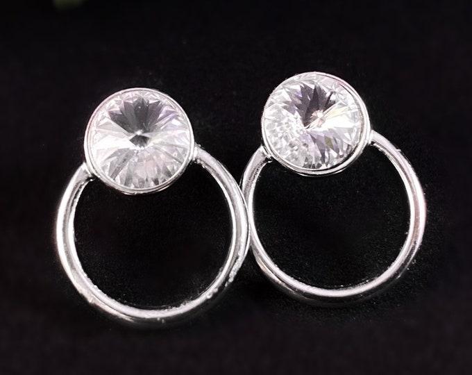 Small Silver Hoop Earrings with Czech Crystal - Handmade Nickel Free Ulla Jewelry