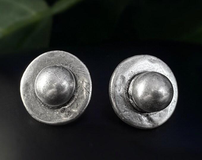 Silver Circle Stud Earrings - Handmade Nickel Free Ulla Jewelry