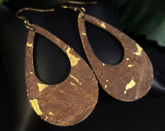 Diana Kauffman Handmade Lightweight Cork Teardrop Earrings Made in USA