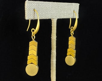 Gold Geometric Art Deco Drop Earrings  - 18kt Gold Over Brass with Hematite, David Aubrey Jewelry