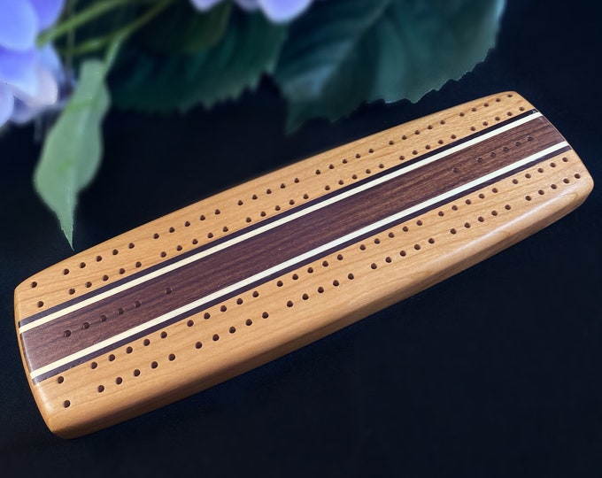 Handmade Wooden Cribbage Board with Pegs - Walnut, Maple, Cherry, Cocobolo