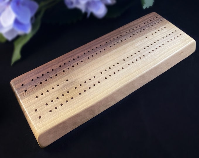 Handmade Wooden Cribbage Board with Pegs - Ash, Walnut