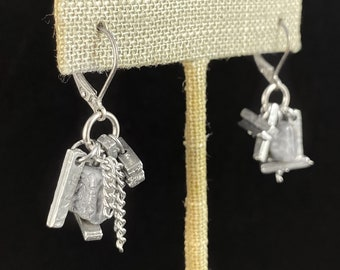 Silver Cluster Earrings with Beads and Chain - Handmade in Canada, Anne-Marie Chagnon Jewelry
