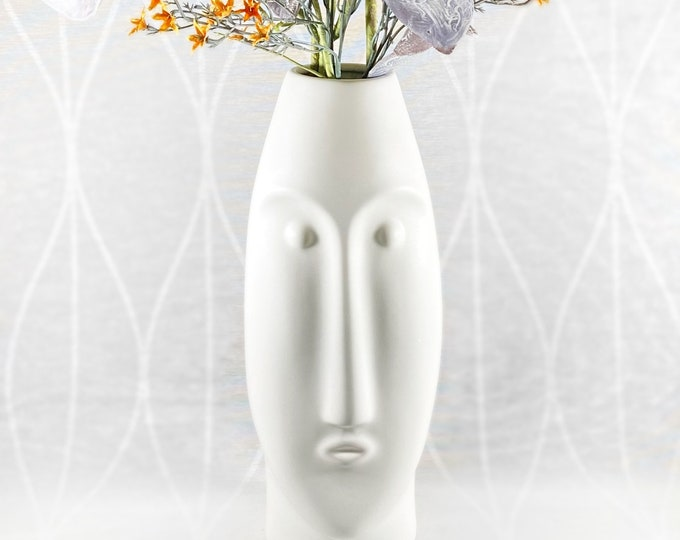 White Ceramic Vase with Face