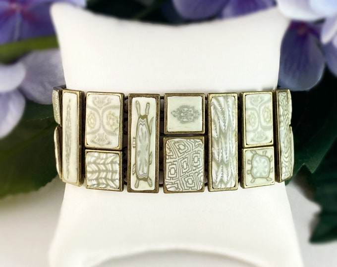Handmade Polymer Clay Square Bead Bracelet