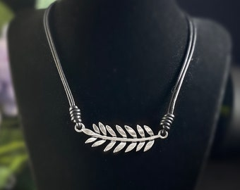 Silver Leaf Necklace with Black Leather Cord - Handmade Nickel Free Ulla Jewelry