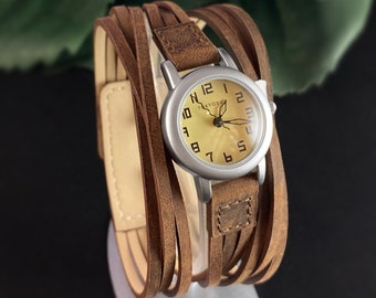 Women's Watch, Strappy Brown Leather Band, Silver Case - TOKYObay