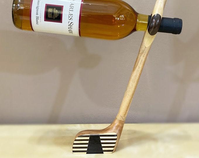 Wooden Wine Bottle Stand - Golf Club