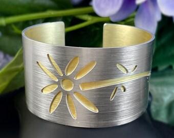 JR Franco Handmade Aluminum Floral Cuff Bracelet Hypoallergenic