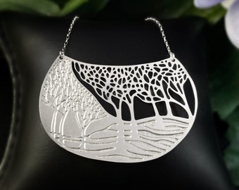 Alucik Stainless Steel and Silver Intricate Winter Landscape Necklace Nickel Free