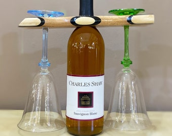 Wooden Wine Bottle and Glass Stand