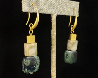 Green and Gold Geometric Art Deco Style Drop Earrings  - 18kt Gold Over Brass with Agate, David Aubrey Jewelry