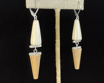 White and Tan Bead Earrings - Handmade in Canada, Anne-Marie Chagnon Jewelry