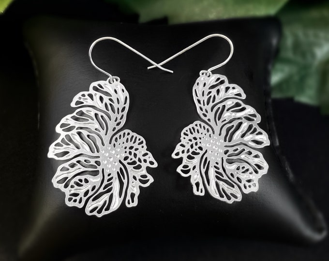 Alucik Stainless Steel and Silver Intricate Floral Earrings Nickel Free