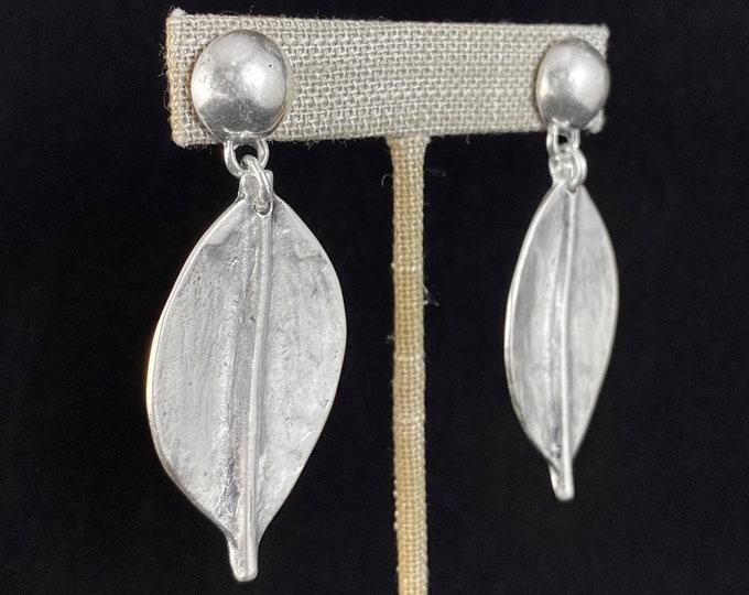 Chunky Silver Leaf Post Earrings - Handmade Nickel Free Ulla Jewelry