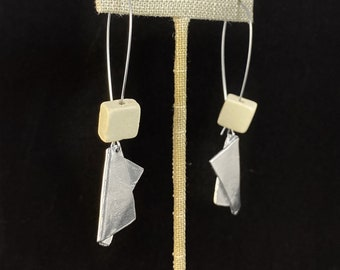 White Square Bead and Silver Dangle Earrings - Handmade in Canada, Anne-Marie Chagnon Jewelry