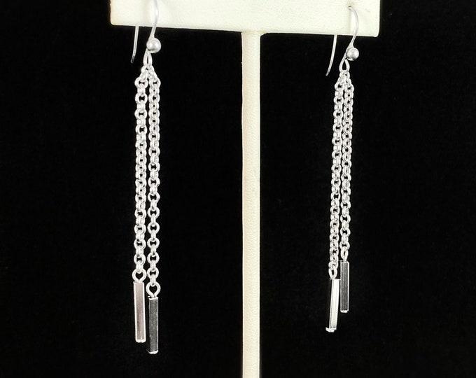Silver Chain Drop Earrings, Handmade Nickel Free