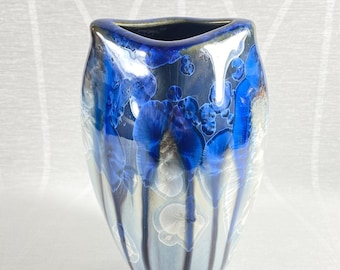 Small Blue and White Handmade Vase - Handcrafted in the USA, Bill Campbell Pottery