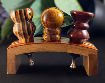 Wooden Wine Bottle Stopper Stand with 3 Stoppers - Wine Gift Set