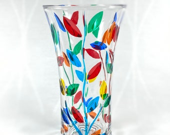 Large Venetian Glass Vase - Handmade in Italy, Colorful Murano Glass Vase