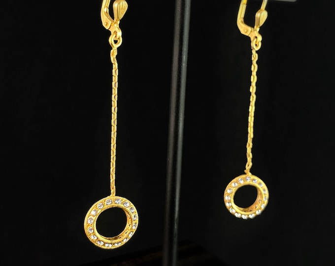 Round Gold Drop Earrings with Clear Swarovski Crystals - La Vie Parisienne by Catherine Popesco