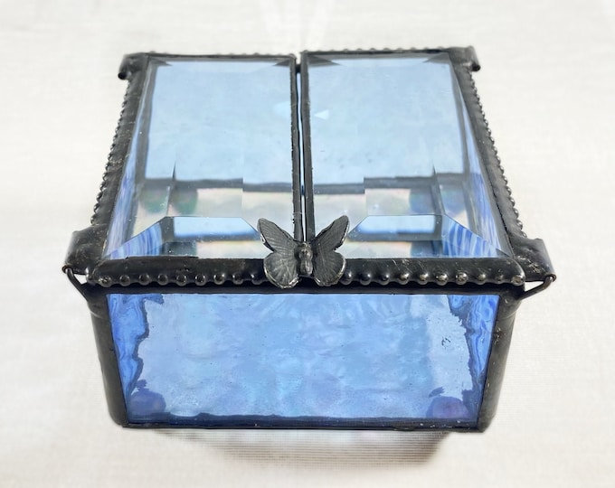 Blue Stained Glass Decorative Keepsake Jewelry Box with Butterfly