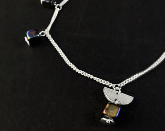 Black Rainbow Iridescent Square Bead Double Strand Necklace - Handmade in Canada, Anne-Marie Chagnon Jewelry