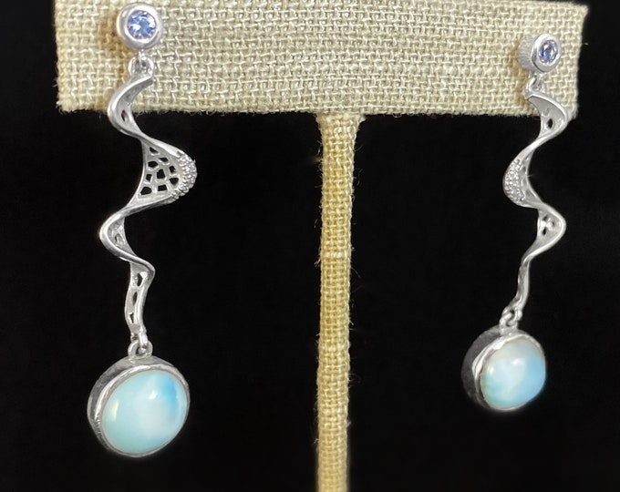 Marahlago Larimar and Sterling Silver Versailles Earrings