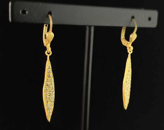 Gold Drop Earrings with Clear Swarovski Crystals - La Vie Parisienne by Catherine Popesco