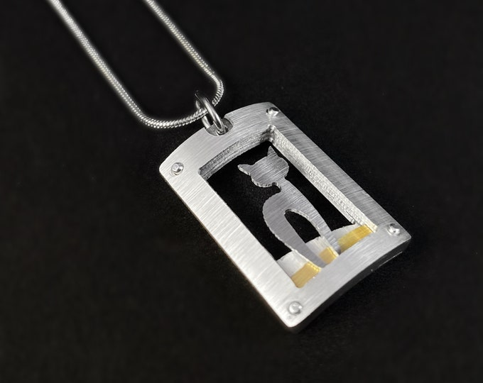 Handmade Aluminum Kitty Cat Necklace, Hypoallergenic Lightweight - JR Franco Jewelry
