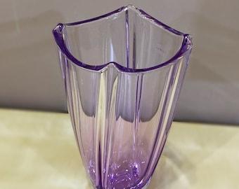 Purple Czech Glass Vase - 10 inch