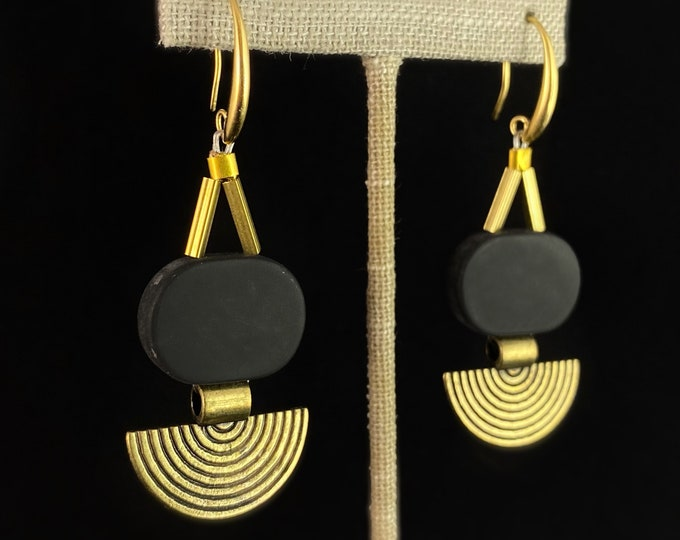 Gold Geometric Art Deco Sunburst Drop Earrings  - 18kt Gold Over Brass with Black Agate, David Aubrey Jewelry