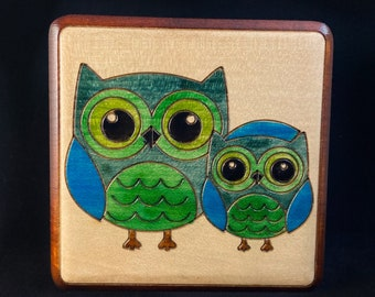 Two Green Owls Handmade Hinged Square Wooden Treasure Box