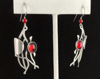 Lightweight Handmade Geometric Aluminum Earrings, Silver and Red