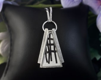 Silver Triangle Crisscross Pendant Necklace - Handmade in Canada, Anne-Marie Chagnon Jewelry