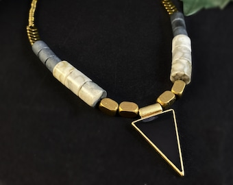 Black and Gold Geometric Art Deco Style Necklace - 18kt Gold Over Brass with Agate - David Aubrey Jewelry