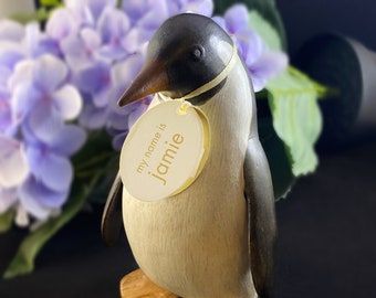 Hand-carved and Hand-painted Bamboo Penguins, Multiple Styles
